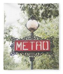 Ornate Paris Metro Sign Fleece Blanket