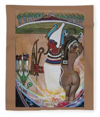 Blaa Kattproduksjoner         Osiris With Goddess Isis And 4 Grandkids Fleece Blanket
