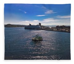 Oslo Fjord From The Roof Of The National Opera House Fleece Blanket