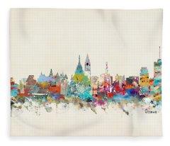Ottawa Canada Skyline Fleece Blanket
