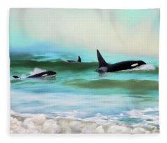 Our Family - Orca Whale Art Fleece Blanket