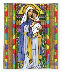 Our Lady Of The Rosary Fleece Blanket