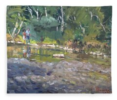 Out Fishing With Viola  Fleece Blanket