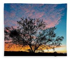 Outback Sunset Pano Fleece Blanket