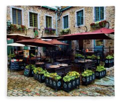 Outdoor French Cafe In Old Quebec City Fleece Blanket