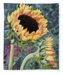 Outdoor Sunflowers Fleece Blanket