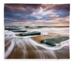 Outer Banks North Carolina Beach Sunrise Seascape Photography Obx Nags Head Nc Fleece Blanket