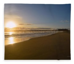 Outer Banks Pier Sunrise Fleece Blanket