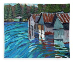 Outlet Row Of Boat Houses Fleece Blanket