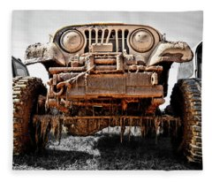 Over The Rocks And Through The Swamp ... In My Jeep I Go Fleece Blanket