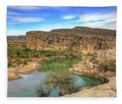 Overlooking The Rio Grande Fleece Blanket