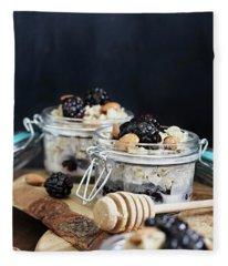 Overnight Oatmeal With Blackberries And Honey Fleece Blanket