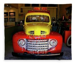 Overpainted 1950 Ford Pickup Fleece Blanket