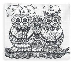 Owl Family Fleece Blanket