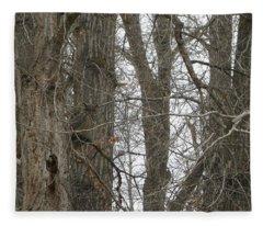 Owl In Camouflage Fleece Blanket