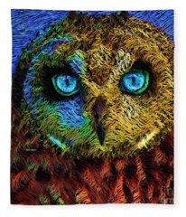 Fleece Blanket featuring the digital art Owl by Rafael Salazar