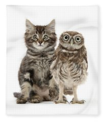 Owling And Yowling Fleece Blanket