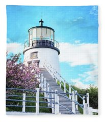 Owl's Head Light In Early June Fleece Blanket