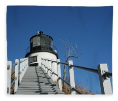 Owls Head Lighthouse Winter Fleece Blanket