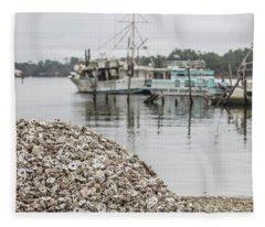 Oyster Shells And Boats  Fleece Blanket