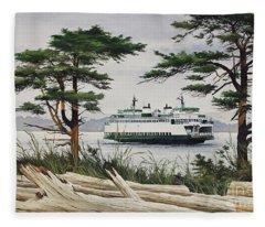 Island Shore - Washington State Ferry Fleece Blanket