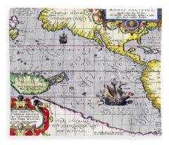 Pacific Ocean Vintage Map Fleece Blanket