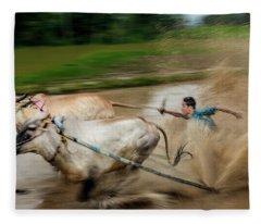 Fleece Blanket featuring the photograph Pacu Jawi Bull Race Festival by Pradeep Raja Prints