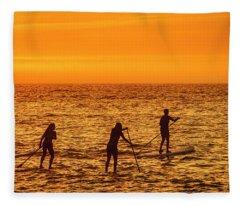Paddelboarding At Sunrise Fleece Blanket