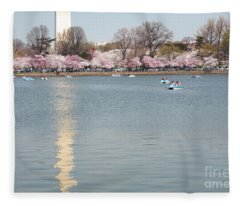 Paddleboating At Cherry Blossom Time In Washington Dc Fleece Blanket