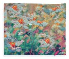 Painted Anemones Fleece Blanket