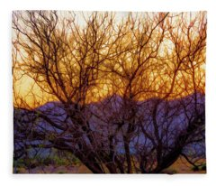 Painted Branches Of A Desert Tree At Sunset Fleece Blanket