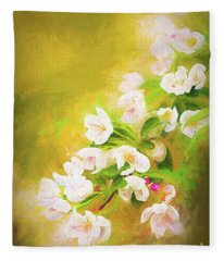 Painted Crabapple Blossoms In The Golden Evening Light Fleece Blanket