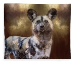 Painted Dog Portrait II Fleece Blanket