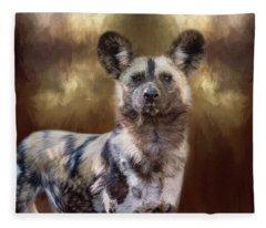 Painted Dog Portrait II Fleece Blanket