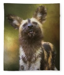Painted Dog Portrait Fleece Blanket