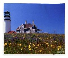 Painted Highland Lighthouse Cape Cod Fleece Blanket