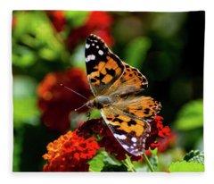 Painted Lady Butterfly Fleece Blanket