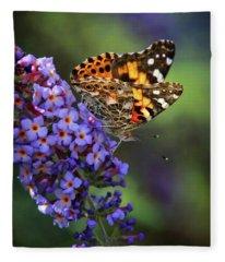 Painted Lady Butterfly On Butterfly Bush Fleece Blanket
