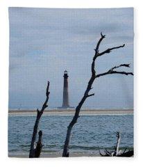 Painted Morris Island Lighthouse Fleece Blanket