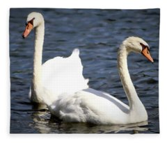 Painted Mute Swans Of Lake Junaluska North Carolina II Fleece Blanket