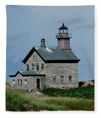 Painted Northwest Block Island Lighthouse Fleece Blanket