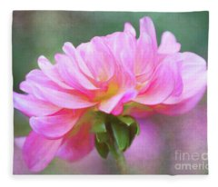 Painted Pink Dahlia Fleece Blanket