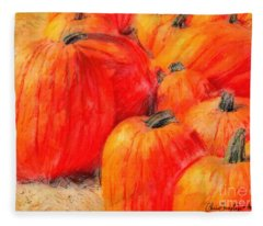 Painted Pumpkins Fleece Blanket