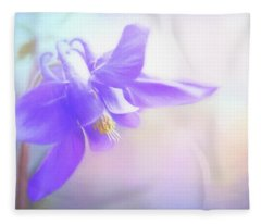 Painted Purple Columbine Fleece Blanket