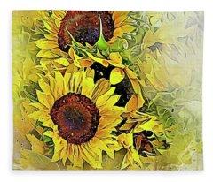 Painted Sunflowers Fleece Blanket