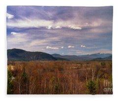 Painted White Mountain Vista Fleece Blanket