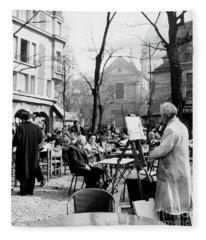 Painter On The Place Du Tertre In Montmartre, Paris, 1958  Fleece Blanket