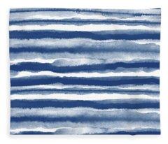 Painterly Beach Stripe 3- Art By Linda Woods Fleece Blanket