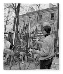 Painters In Montmartre, Paris, 1977 Fleece Blanket