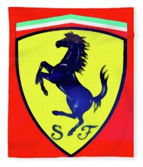 Painting Of Ferrari Badge Fleece Blanket
